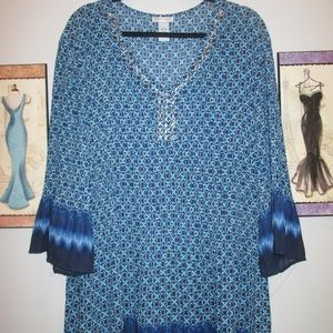 Catherines Plus Size Tunic 3X Shades of Blue